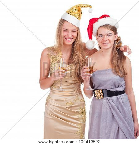 Two  Drunken Girls Celebrate With Alcohol, Isolated