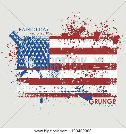 Patriot day. Abstract grunge greeting card celebration. Vector background 10eps.