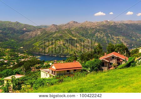 scenic view of Cavado river and Peneda-Geres National Park in northern Portugal. poster