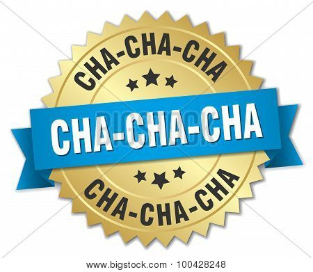Cha-cha-cha 3D Gold Badge With Blue Ribbon