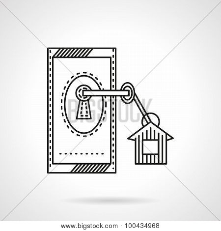 Affordable housing flat line vector icon