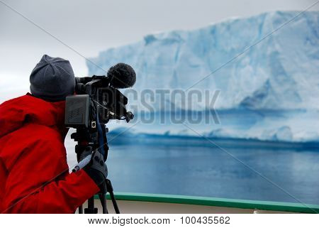 cameraman and iceberg