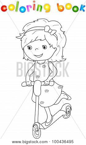 Small Cute Girl Riding A Scooter
