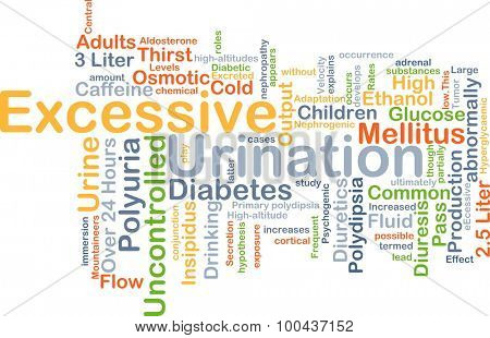 Background concept wordcloud illustration of excessive urination