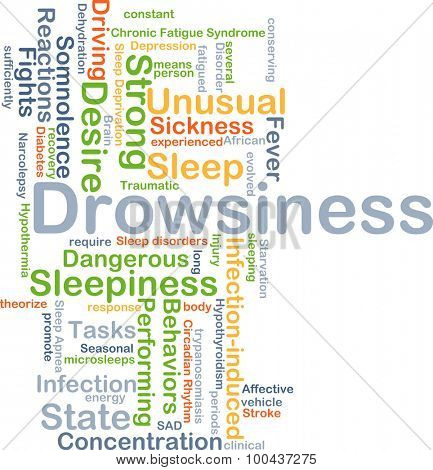 Background concept wordcloud illustration of drowsiness