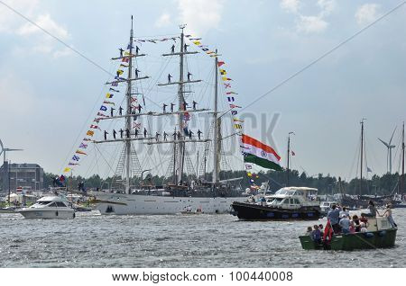 The Tarangini Tall Ship Among Spectators On The Ij River