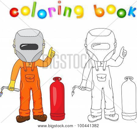 Welder In Boilersuit And Protective Mask With A Gas Burner And Gas Balloon. Coloring Book