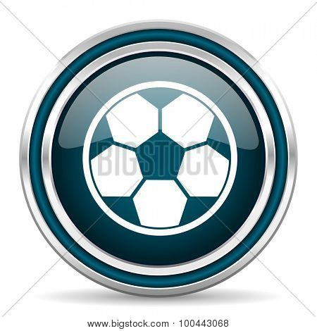 soccer blue glossy web icon with double chrome border on white background with shadow