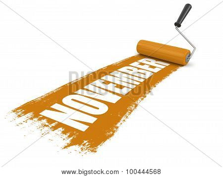 Paint roller with november. Image with clipping path poster