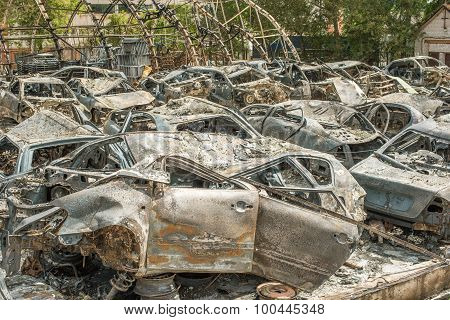 Burned cars after huge fire