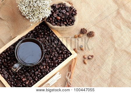 Roasted Coffee Beans With Hot Coffee