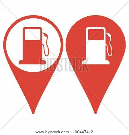 Map pointer. Gasoline pump nozzle sign. Gas station icon. Flat design style. poster