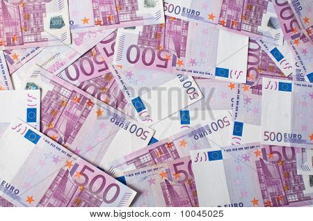 A pile of euro banknotes scattered around poster