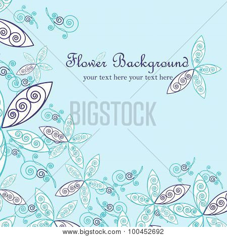 Floral background, greeting card. Vector illustration.