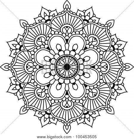 Black Line Graphic Indian Floral Mandala