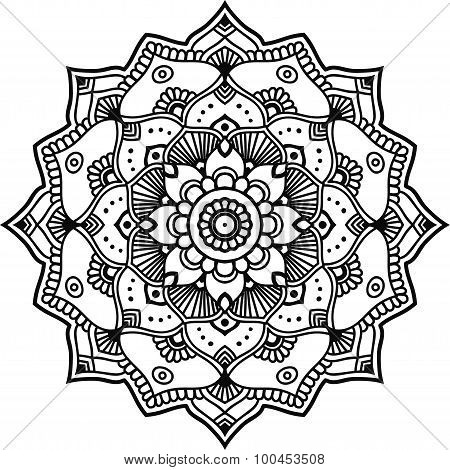 Black Graphic Indian Floral Mandala