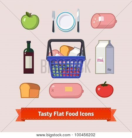 Bag full of groceries and tasty food flat icon set