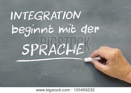 Hand On A Chalkboard With The German Words Integration Beginnt Mit Der Sprache (integration Begins W
