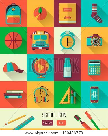 Vector school workspace illustration. Education and school icons set. Flat style, long shadows.