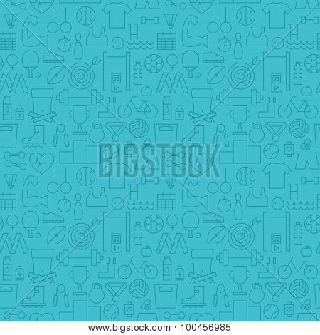 Thin Healthy Lifestyle Line Fitness Dieting Blue Seamless Pattern