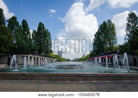 Fountains in front of Rotunde de la Villette in Paris