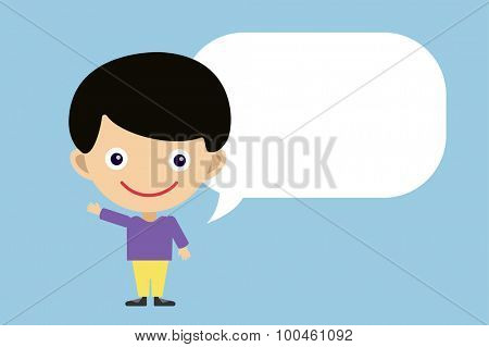 Vector cute cartoon boy and bubble. Kids boy isolated. Small kid, schildren clothes. Kids talking. Kids background. Children vector people. Vector kid, teen, smile face, kids people silhouette