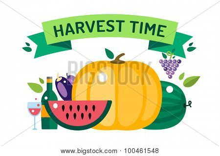 Harvest time vector illustration. Harvest fruits and vegetables. Harvest basket and harvest isolated objects. Harvesting. Harvest background vector. Harvest  autumn season.