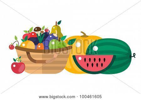 Harvest time vector illustration. Harvest fruits and vegetables. Harvest basket and harvest isolated objects. Harvesting. Harvest background vector. Harvest  autumn season.