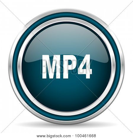 mp4 blue glossy web icon with double chrome border on white background with shadow