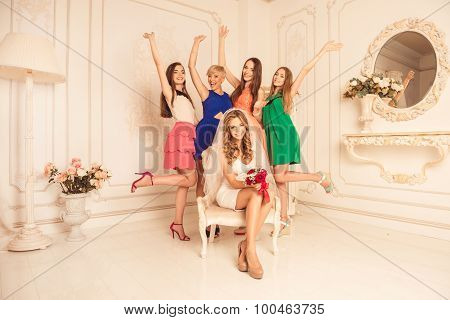 Bachelorette Party! Happy Bride With Her Girlfriends