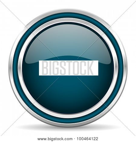 minus blue glossy web icon with double chrome border on white background with shadow