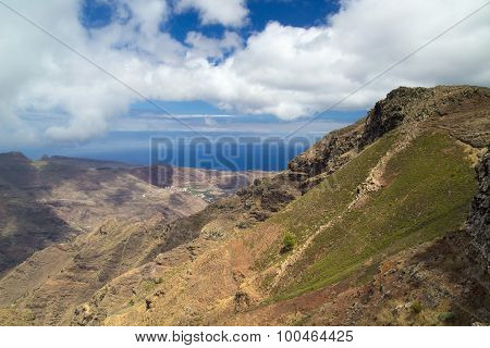 La Gomera Canary islands view towards south coast from long distance hiking trail GR 131 poster