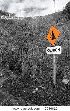 Landslide Caution Sign In Ireland