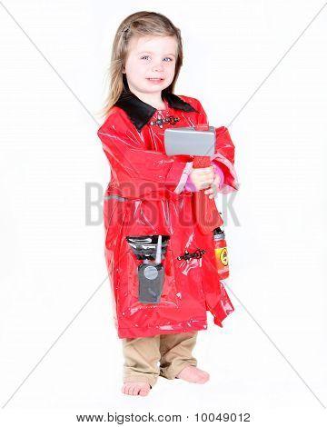 Toddler Girl In Firefighter Costume