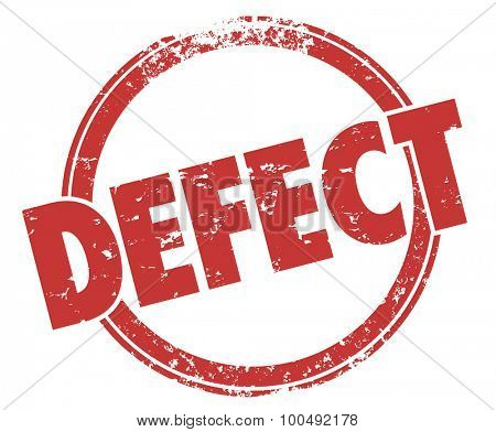 Defect stamp in round red grunge style circle to warn you of a bad product or merchandise that is broken or flawed with bugs