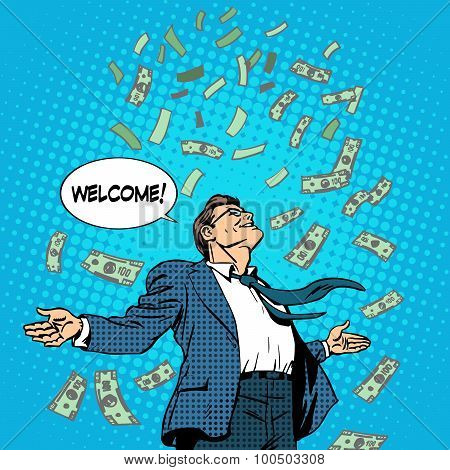 business concept success businessman flying money