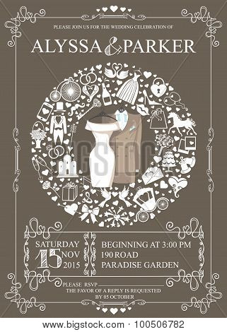 Wedding invitation with wreath composition.Wear,icons