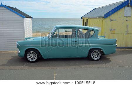 Classic blue Ford Anglia