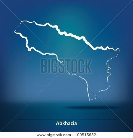Doodle Map of Abkhazia - vector illustration