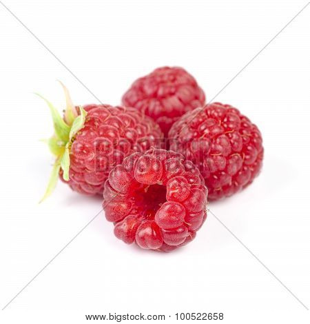 Heap Of Juicy Red Ripe Raspberry, Isolated