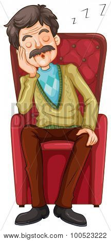 Old man taking a nap on the chair illustration