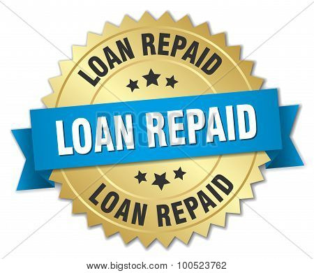Loan Repaid 3D Gold Badge With Blue Ribbon