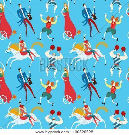 Circus Artists Cartoon Seamless Pattern
