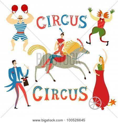 Circus Artists Cartoon Set