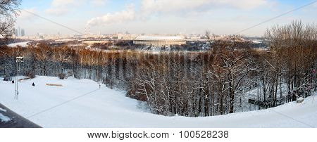 Panorama view on Luzhniki stadium and Sparrow Hills from observation deck near Moscow State Univercity (MSU). Aerial cityscape in winter sunny day. Moscow Russia. poster