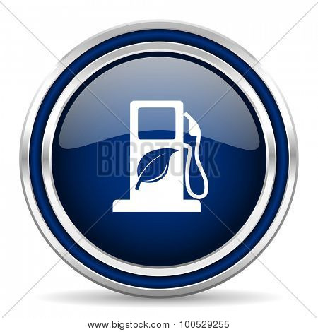 biofuel blue glossy web icon modern computer design with double metallic silver border on white background with shadow for web and mobile app round internet button for business usage