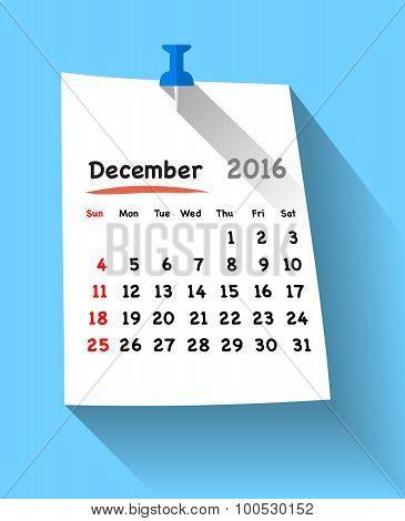 Flat Design Calendar For December 2016 On Sticky