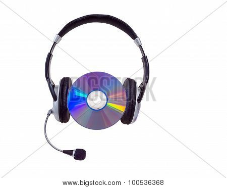 headphones and cd CD-R DVD on a white background. isolated poster