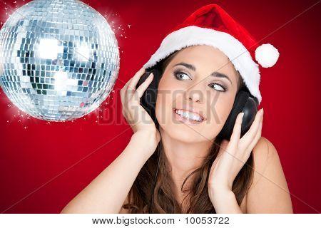 Christmas Girl With Disco Ball