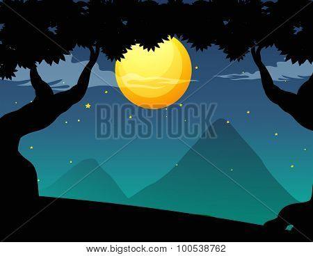 Silhouette forest scene on fullmoon night illustration
